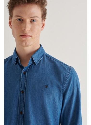 Avva Erkek  Düz Alttan Britli Yaka Gömlek A11Y2118 Lacivert